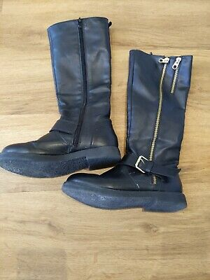 Girls H&M Black Knee Length Boots UK Size 1.5  Zip Buckle Detail FREE POSTAGE
