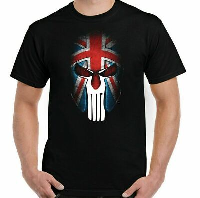 THE PUNISHER T-SHIRT Mens Gym Spartan Helmet Union Jack Flag MMA Training Top