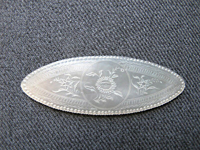 Antique Victorian Chinese Export Carved Mother of Pearl Gaming Counters Chip #1A
