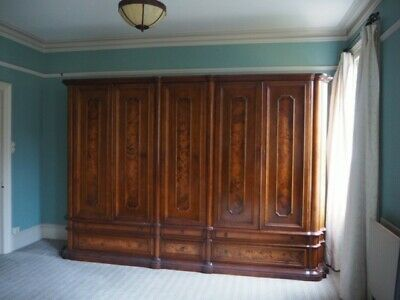 Vintage Antique 19th Century style Solid Wood Large Wardrobe walnut marquetry