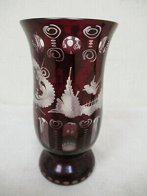 Bohemian Czech Ruby Red Cut To Clear Glass Vase