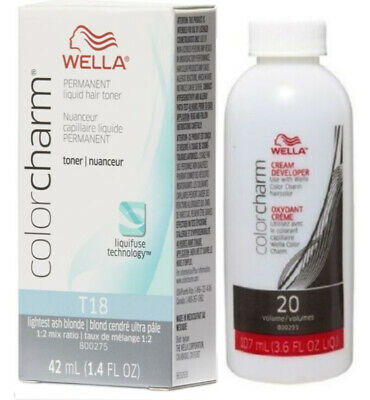 Wella-T18 Hair Colour Toner - Lightest Ash Blonde with developer 20vol