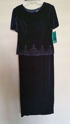 Womens Dress Gown by RM Richards - Karen Kwong - Velvet - Navy - Size 10 NWT