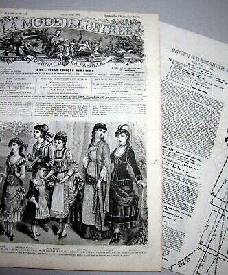 DOLL PATTERN vêtement poupée ancienne PATRON LA MODE ILLUSTREE n° 49 de 1877