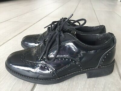 Clarks Girls Black Patent Brogues - School Shoes - UK Infant 13G