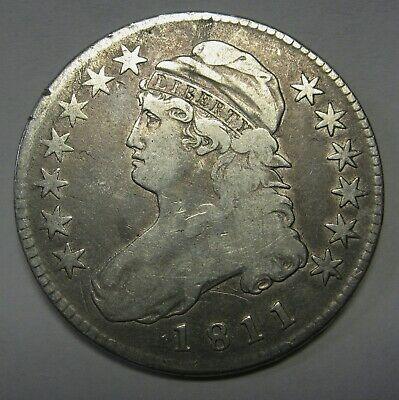 1811 Small 8 Capped Bust Silver Half Dollar Grading FINE Nice Original Coin   b2