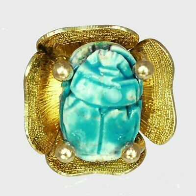 Dramatic Egyptian solid 14k yellow gold scarab ring, sz 6 M-F