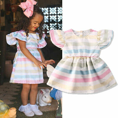 US Stock Toddler Baby Girls Kids Rainbow Sleeveless Dress Clothes Mini Skirt HOT