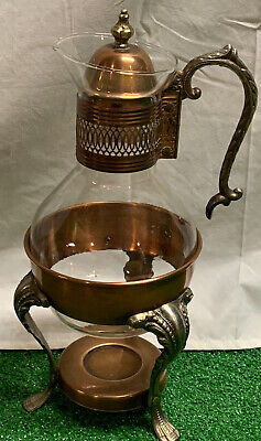 Vintage Silverplate & Glass Coffee Tea Carafe Pitcher W/ Footed Warmer Stand