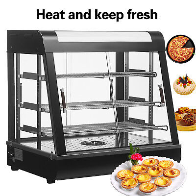 "27""Food Warmer pizza Display Commercial Warmer Glass Heat Cabinet Food Durable"