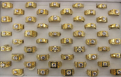 Newest Wholesale mixed Lots 45pcs Men's Jewelry Gold P Ring Cubic Zirconia Rings