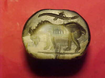 Sasanian dome seal ofbanded agate (horse with eagle above) circa 224-642 AD.