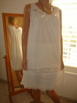 "Shadowline Ivory Nylon & Lace Flared ""A"" Line Nightgown Large"