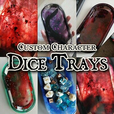CUSTOM DnD RPG Character Dice Tray Resin Dungeons and Dragons Pathfinder Mat d20