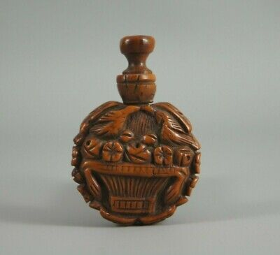 Fine Small Antique 19Th C French Carved Coquilla Nut Scent Perfume Flask Treen