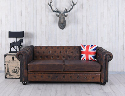 Chesterfield Sofa XXL Couch 200cm Eco Leder Polstersofa Vintage