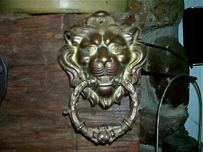 Lion's Head Door Knocker ~ Sand Casted Brass & Ornate Handle  Awesome Age Patina