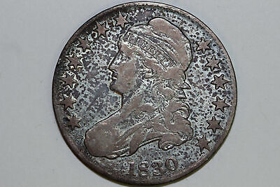 1830 Capped Bust 90% Silver Half Dollar Large O Grades Fine (BST50-344)