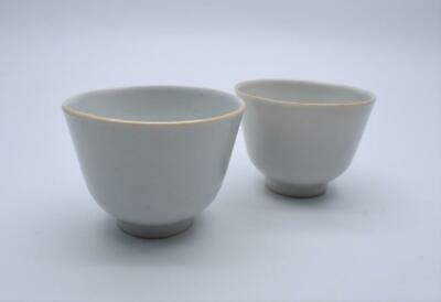 FINE PAIR ANTIQUE CHINESE 18thC / 19thC BLAND DE CHINE WINE CUPS - DEHUA