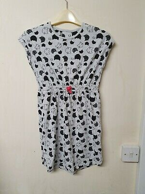 Girls grey and  black cat patterned short Sleeved Dress By George Age 10-11 yrs