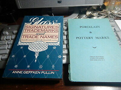 Two antique reference books Glass Marks and Pottery Marks