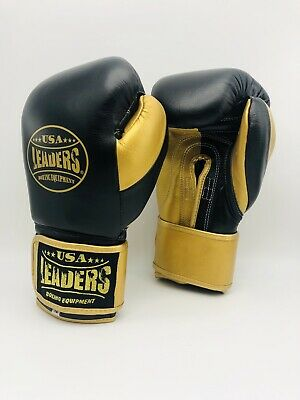 High Quality Leather Leaders USA Boxing Training Gloves 16 oz Kickboxing MMA