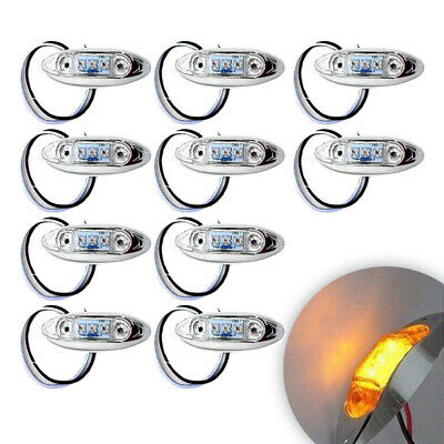 10x/Set Clear Amber 3LED 12V Oval Truck Trailer Side Marker Light Clearance Lamp