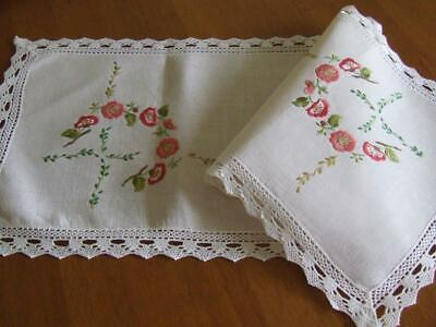 Pretty Primulas Feature on this Vintage Hand Embroidered Table Runner -Lace Edge