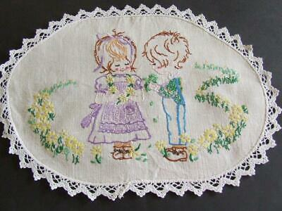 Little Girl & Boy Picking Flowers - Hand Embroidered Vintage Centre  Lace Edging