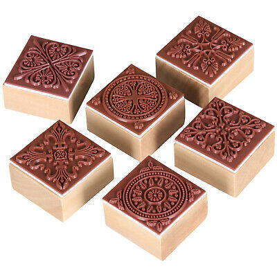 TRIXES Pack of 6 Letter Square Wooden Rubber Pattern Stamps