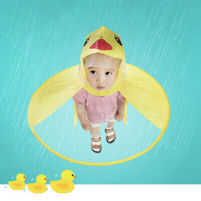 Child Kids UFO Raincoat Cartoon Animals Rain Coat Umbrella Hat Freedom Of Hands