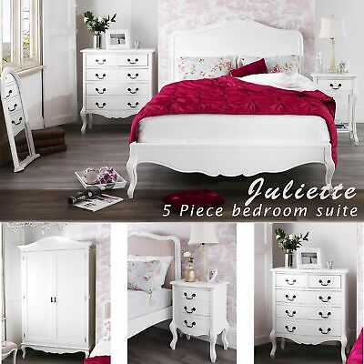 Shabby Chic White 5FT King bed 5 piece bedroom suite.White bedroom furniture set