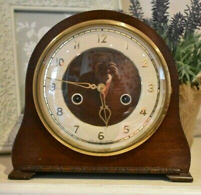 Vintage Chiming Mantel Clock Smiths Enfield No Key Not Tested (refW78)
