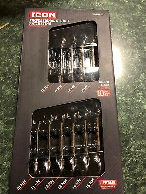 icon hand tool Professional Stubby Ratcheting Wrench Set 10 Piece Set
