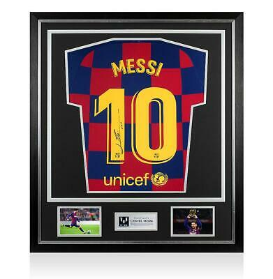 Lionel Messi Official Back Signed FC Barcelona 2019-20 Home Shirt In Classic Fra