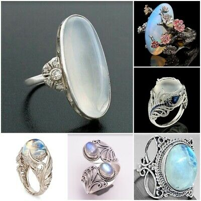 Women 925 Silver Moonstone Opal Ring Wedding Birthday Jewelry Party Gift Sz6-10