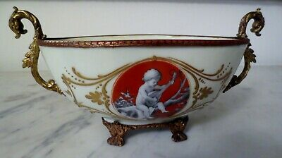 Antique French Porcelain in Gilt Bronze , Hand-Painted, France Centerpiece/ Bowl