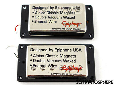 "~Epiphone '57 Classic Alnico HUMBUCKER PICKUP SET for Les Paul SG ""Nickel/Black"""