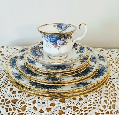 "Multi-Piece lot Blue ""Moonlight Rose"" by Royal Albert"