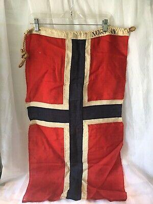 Vintage Norway Antique Boat Ships Nautical Maritime Wool Flag WWII 1940s ww2