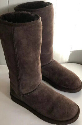 Details about UGG Australia Chocolate Brown Twinface Sheepskin Classic Tall Boots Size W8