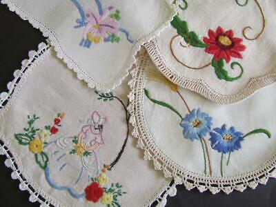 Crinoline Lady & Florals - Four Vintage Hand Embroidered Doilies - Crochet Edges