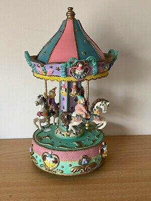 Merry Go Round Horse Music Box Large Gift Quality Item Porcelain Clowns