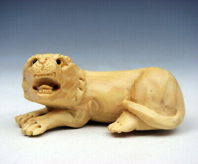 Boxwood Hand Carved Japanese Netsuke Sculpture Seated Furious Tiger #04221802