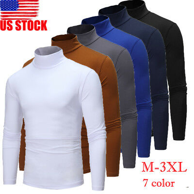 US Men's Thermal High Collar Turtle Neck Skivvy Sweaters Tops Stretch T Shirt