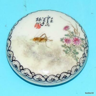 Chinese Porcelain Handpainted Famille Rose Signed Seal Box Republic
