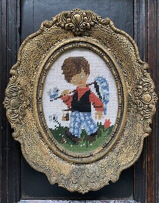 VintageTapestry Picture - Pilgrim Boy  - Tapestry Picture   In Glass Frame