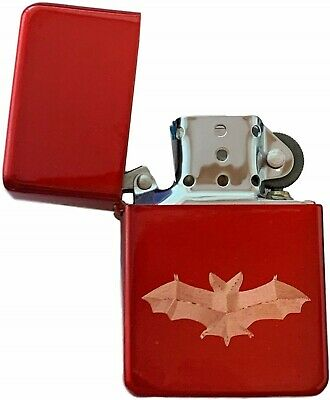 Emblems-Gifts Personalised Bat Red Ice Colour Star Petrol Lighter (T18)
