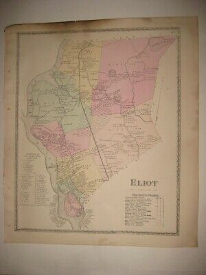 Antique 1872 Eliot York County Maine Handcolored Map Railroad Detailed Fine Rare