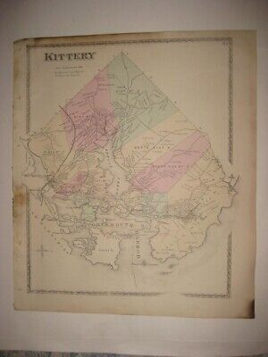 Antique 1872 Kittery & Point & Depot York County Maine Handcolored Map Superb Nr